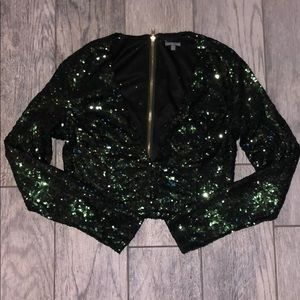 New Green Sequin Midriff Top